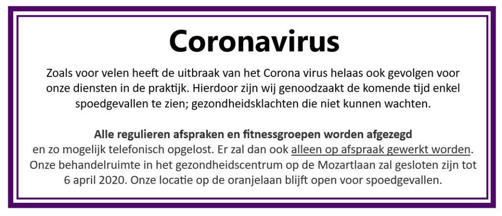 Nieuws corona 16 maart 2020