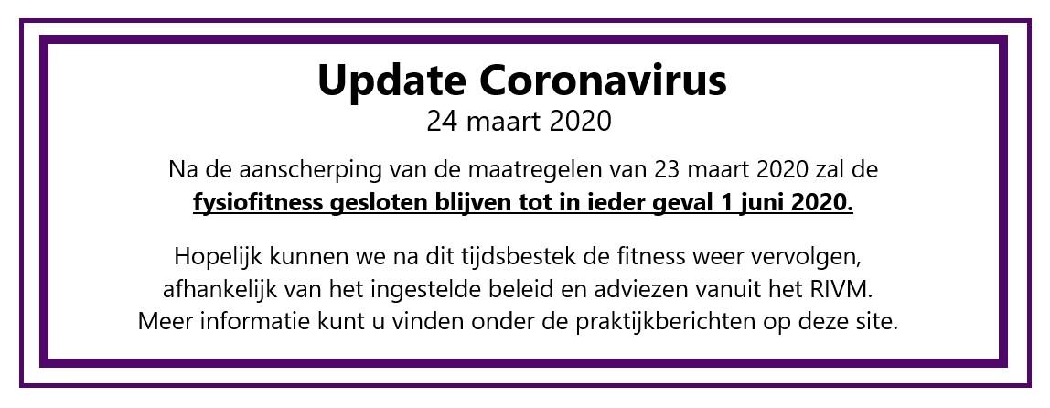 update corona maatregelen 24 maart 2020